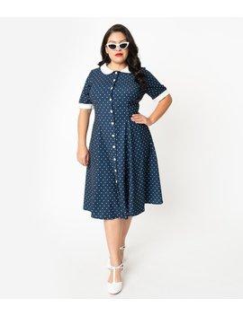 Plus Size 1940s Style Navy Blue & White Polka Dot Raina Shirt Dress by Unique Vintage