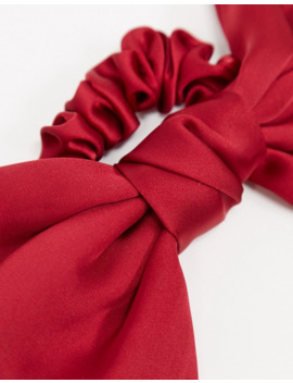 My Accessories London Exclusive Oversized Bow Scrunchie In Red Satin by My Accessories