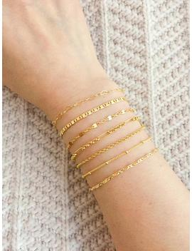Thin Gold Bracelet / Dainty Gold Chain Bracelet / Delicate Gold Layering Bracelet / Stacking Bracelet / Bridesmaid Bracelet / Gift For Her by Etsy