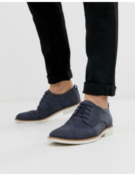 New Look Embossed Faux Suede Derbys In Navy by New Look