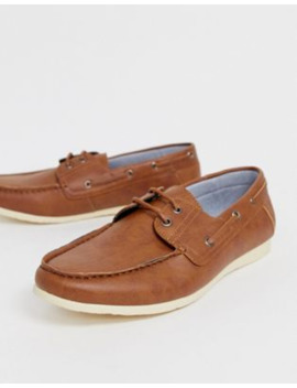 New Look Faux Leather Boat Shoes In Tan by New Look