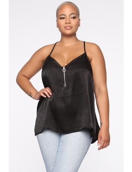 Bosses Own Satin Top   Black by Fashion Nova