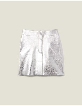 Short Silver Leather Skirt by Sandro Paris