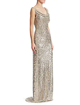 Cowlneck Allover Sequin Column Gown by Naeem Khan