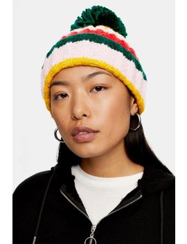 Multicoloured Stripe Beanie by Topshop