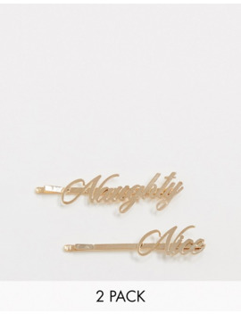 Asos Design Christmas Pack Of 2 Hair Clips With Naughty Nice In Gold Tone by Asos Design