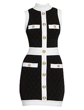 Quilted Sleeveless Mini Dress by Balmain