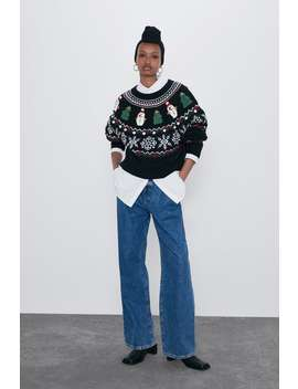 Embroidered Christmas Sweater by Zara