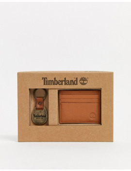 Timberland Card Holder & Keychain Gift Set In Tan by Timberland's