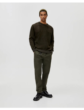 Khaki Sweater With Matching Trims by Pull & Bear