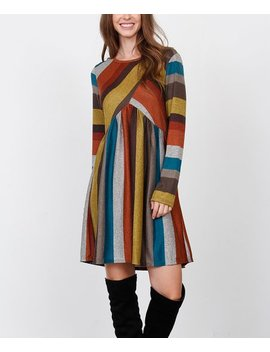 Burgundy &Amp; Mustard Stripe Empire Waist Dress   Women &Amp; Plus by Egs By éloges