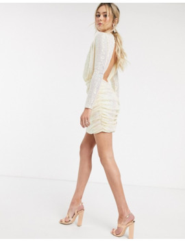 In The Style X Fashion Influx Sequin Ruched High Neck Mini Dress With Open Back In Cream by In The Style's