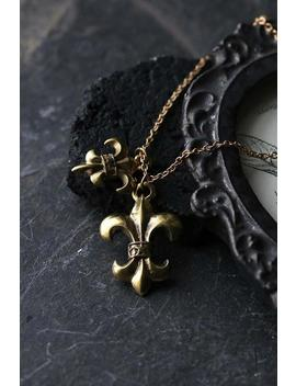 Fleur De Lis Necklace. Only At Defy Jewelry /Tattoo Inspire /Brass,Gold And Silver Color / Unisex Jewelry/ Handmade/Special Gifts. by Etsy
