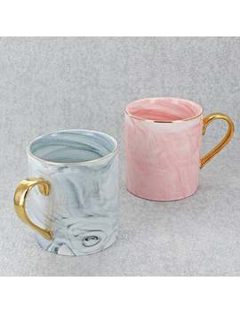 Marble Effect Coffee Mugs In Pink Or Grey Finish by Etsy