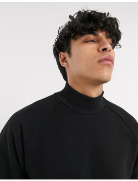 Asos White Sweatshirt With Turtle Neck In Black by Asos White