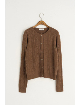 Mini Cable Cardigan, Brown by Olive