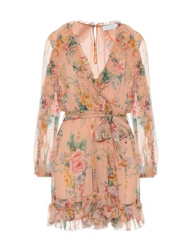 Zinnia Floral Silk Wrap Minidress by Zimmermann