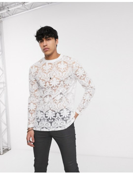 Asos Design Longline Long Sleeve T Shirt In Paisley Burnout In White by Asos Design