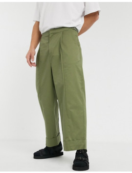 Asos White Wide Leg Trousers With Front Crease In Green by Asos White