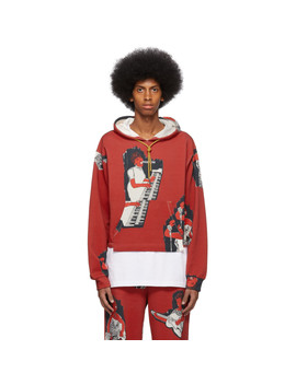 Red Aop Logo Cropped Hoodie by Pyer Moss