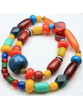Vintage Fun Colorful Large Lucite Bead Necklace Op Art Mod Retro by Ebay Seller