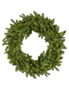 48 In. Grandland Artificial Holiday Wreath With Clear Battery Operated Led String Lights by Fraser Hill Farm
