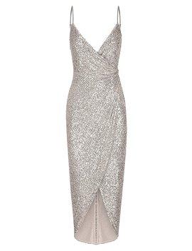 Soiree Cross Over Draped Midi Dress   Silver by Shona Joy