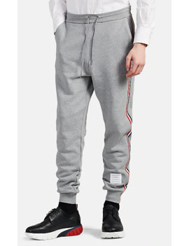 Stripe Trimmed Cotton Sweatpants by Thom Browne