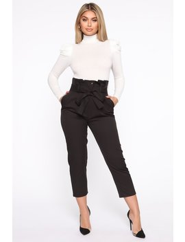 Taking Notes Paperbag Waist Trousers   Black by Fashion Nova