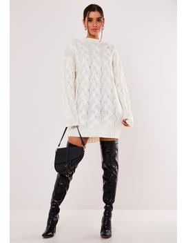 White Crew Neck Cable Knit Sweater Dress by Missguided