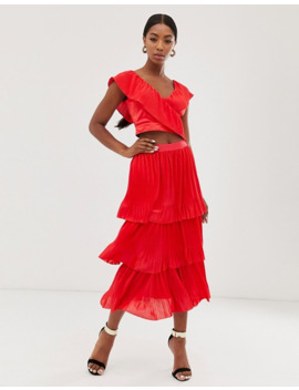 Little Mistress Tiered Midi Skirt In Poppy Red by Little Mistress'