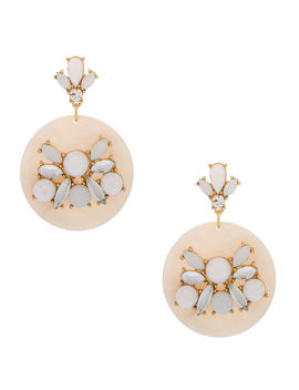 "Gold 2"" Embellished Drop Earrings   White by Claire's"