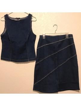 Dark Vintage Distressed Denim Tank Top And Skirt Set by Depop
