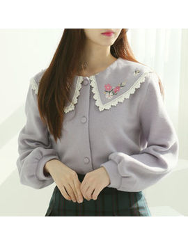 Sechuna   Puritan Collar Flower Embroidery Cardigan by Sechuna