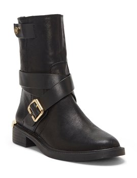 Tandy Leather Buckle Block Heel Moto Boots by Louise Et Cie