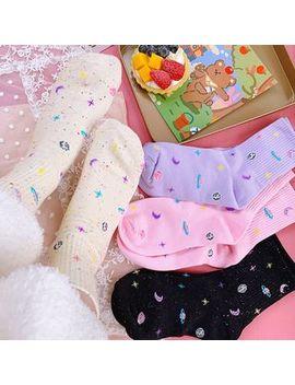 Yunikon   Star & Moon Print Lolita Socks by Yunikon
