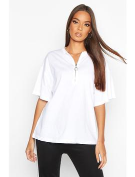 Zip Detail Oversized T Shirt by Boohoo