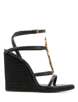 Cassandra Leather Sandals by Saint Laurent