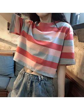 Xgz   Short Sleeve Striped T Shirt by Xgz
