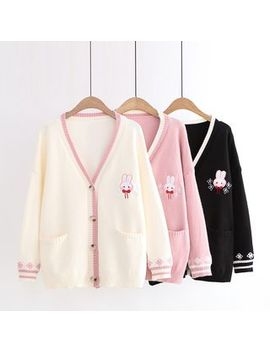 Aigan   Rabbit Embroidered Cardigan by Aigan
