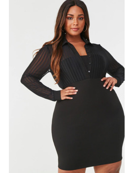 Plus Size Shadow Striped Combo Dress by Forever 21