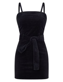 Black Cord Tie Denim Dress  by Prettylittlething