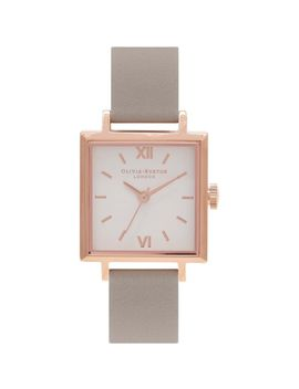 Square Dials Grey & Rose Gold Watch by Olivia Burton