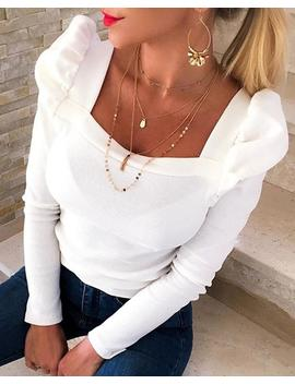 Solid Puffed Sleeve Blouse by Chic Me