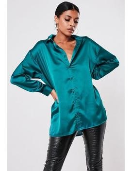 Teal Satin Extreme Oversized Shirt by Missguided