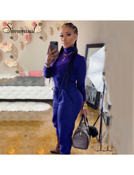 Simenual Casual Basic Sportswear Co Ord Sets Women Long Sleeve Turtleneck Workout Tracksuits Fashion Solid Top And Pants Set New by Ali Express.Com