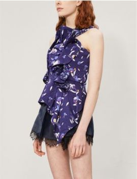 One Shoulder Ruffled Floral Print Satin Top by Self Portrait