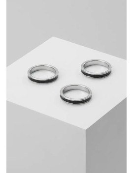 Enamel Inlay Bands 3 Pack   Ring by Topman