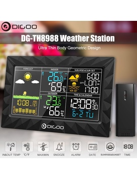 Digoo Dg Th8988 Wireless Weather Station With Rain, Temperature, Humidity, Barometer, Moon Phase Remote Sensor Ultra Thin Body Geometric Design by Wish