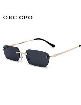 Oec Cpo Fashion Rimless Sunglasses Women Vintage Brand Design Ladies Transparent Lens Sun Glasses For Women Rectangle Uv400 O94 by Ali Express.Com